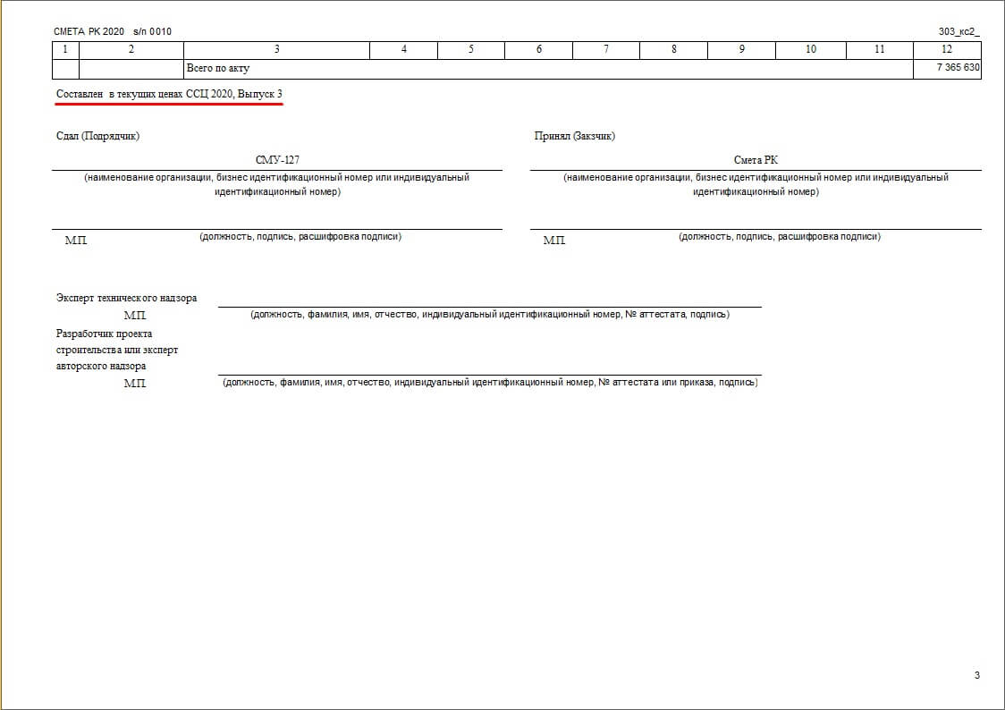 Рис. 1. Акт выполненных работ по приложению 3-1 (12 граф)